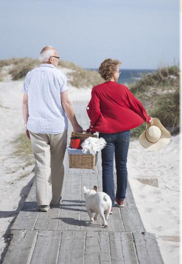 Couple walking the boardwalk