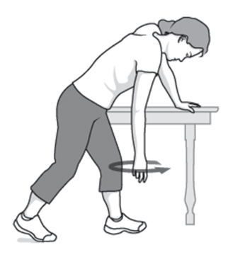 Do This Exercise First Relax Your Shoulders Stand And Lean Over Slightly Allowing The Affected Arm To Hang Down Swing In A Small Circle About