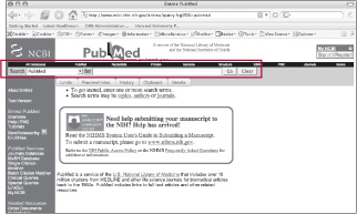 screen shot of the PubMed home page