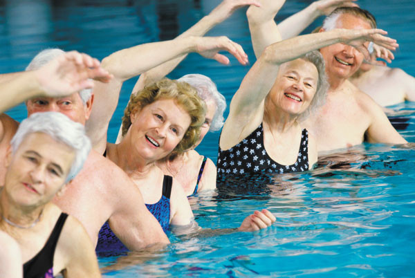 group fitness class pool swim