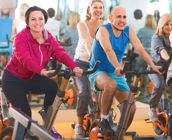 indoor cycling spin class