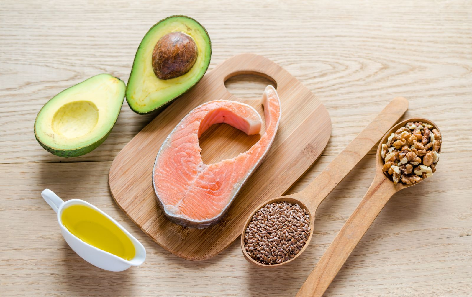 Good sources of monounsaturated and polysaturated fats are olive oil, peanut oil, canola oil, avocados, most nuts, high-oleic safflower and sunflower oils