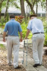 Son-elderly-father-strolling