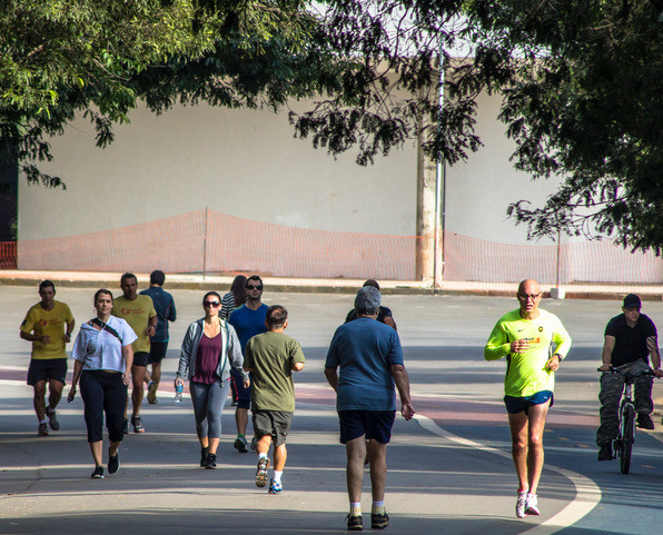 People-walk-bike-park